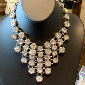 NWT rhinestone in silver tone statement necklace